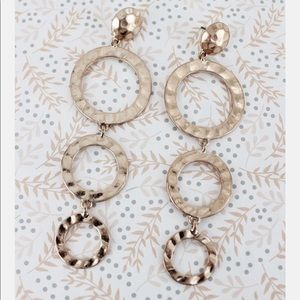 Hammered rose goldtone tiered ring earrings